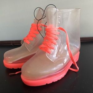 F21 clear pink see-through ankle rain boots 7 NWT
